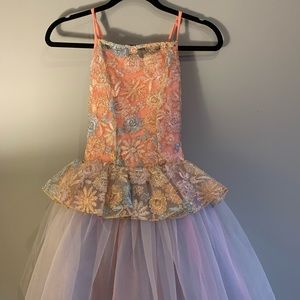 Weissman Peach and Gold Floral Ballet Costume